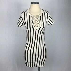 ZARA Trafaluc Pinstriped Bodycon Shirt Dress